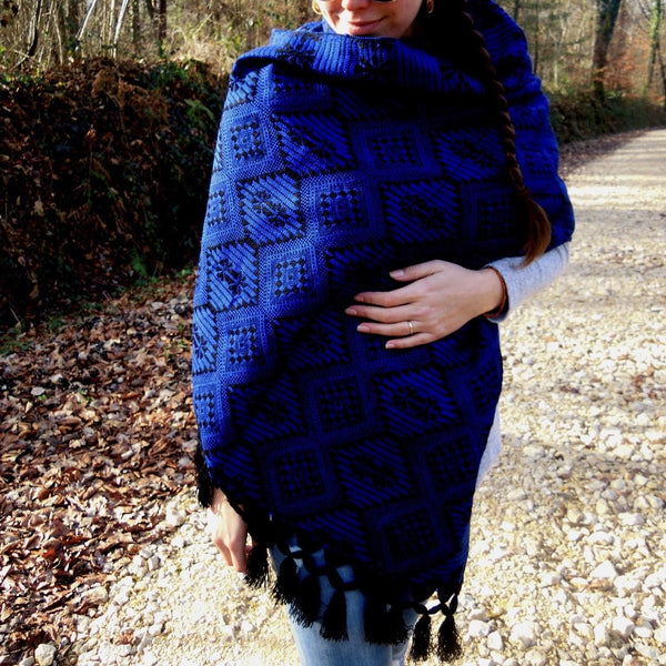 Shawl Blue Mexican Maxi Scarf & Shawl Royal Blue