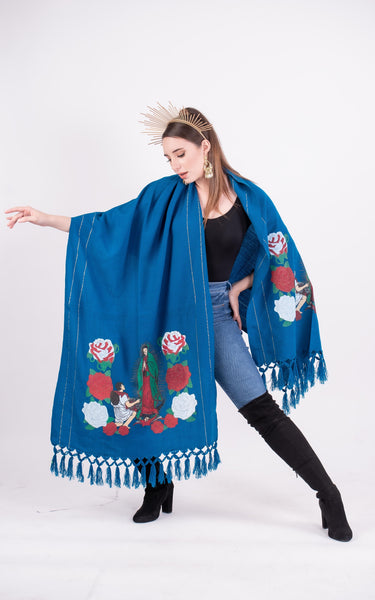 Shawl Royal Blue Our Lady of Guadalupe Shawl Blue