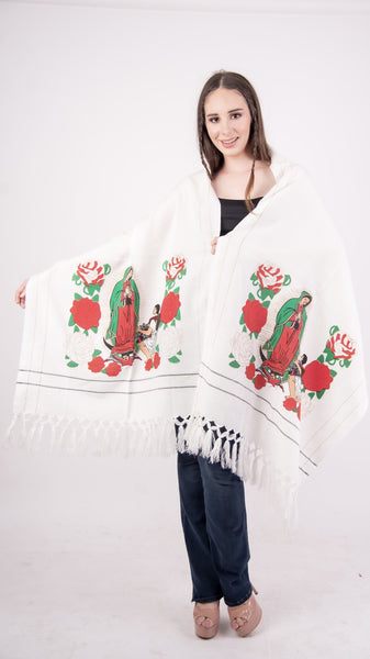 Our Lady of Guadalupe Shawl White - Cielito Lindo