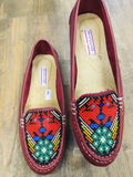 Shoes 6.5 Huichol Beaded Leather Loafers Red