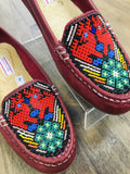 Shoes Huichol Beaded Leather Loafers Red