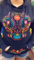Winter Puebla Embroidered Hoodie Navy
