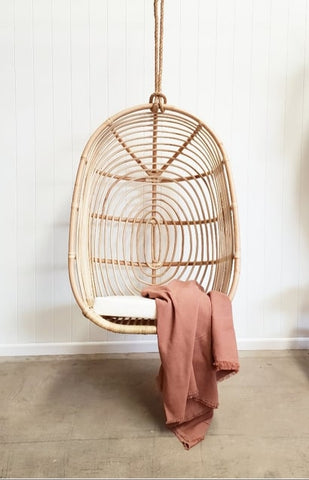 Rattan oval hanging chair PRE ORDER FOR OCTOBER DELIVERY