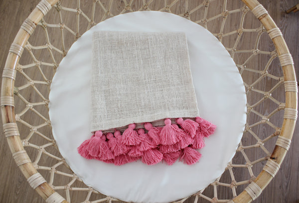 Tassel Cotton Blanket - Natural