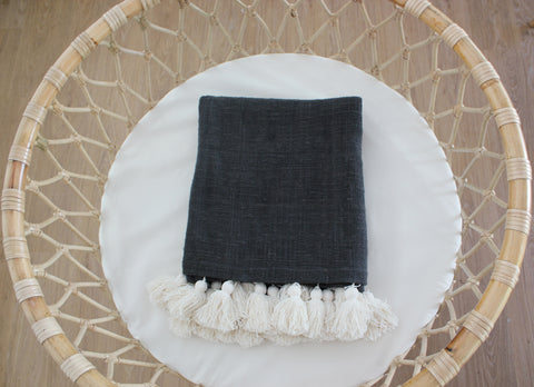 Tassel Cotton Blanket - Grey