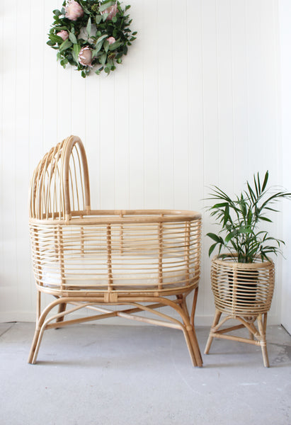 Hooded Natural Rattan Bassinet