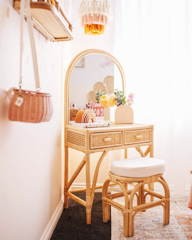 Elsie Arched Rattan Dressing Table
