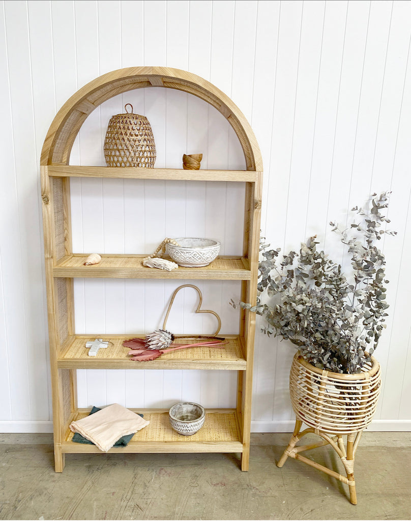 Rattan and timber shelves