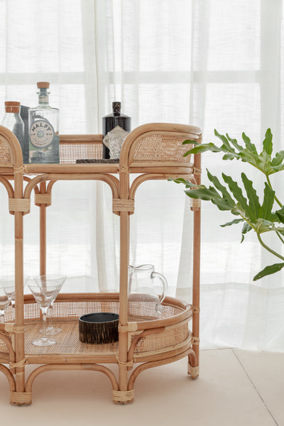 Ziggy Rattan Bar Cart JUNE DELIVERY