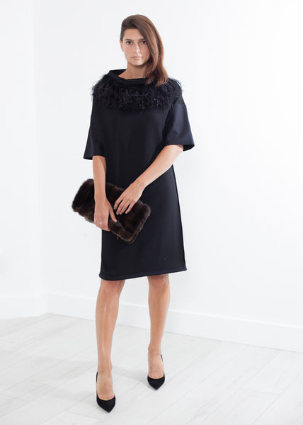 Ostrich Plume Dress in Black