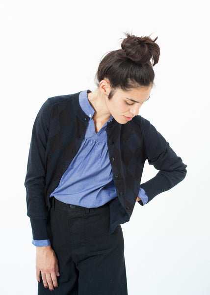 Quilt Pattern Cardigan in Black/Navy
