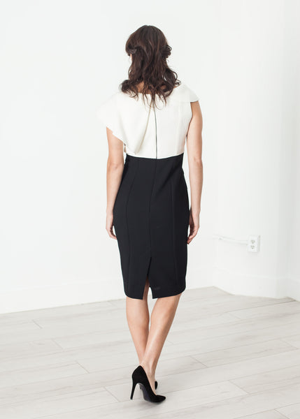 Asymmetric Dress in Cream/Black - Demo