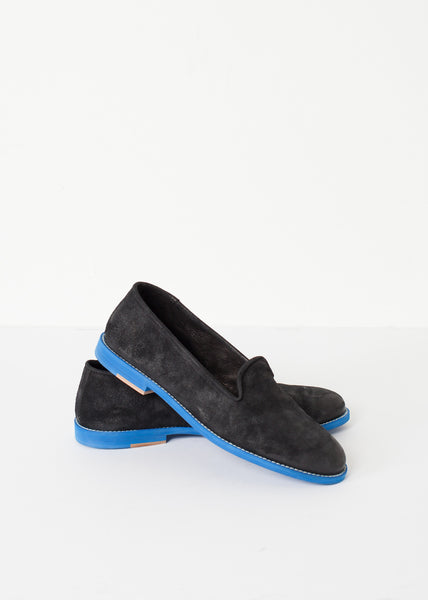 Suede Loafers - Black/Blue