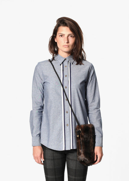 Chambray Boyfriend Shirt in Blue - Demo