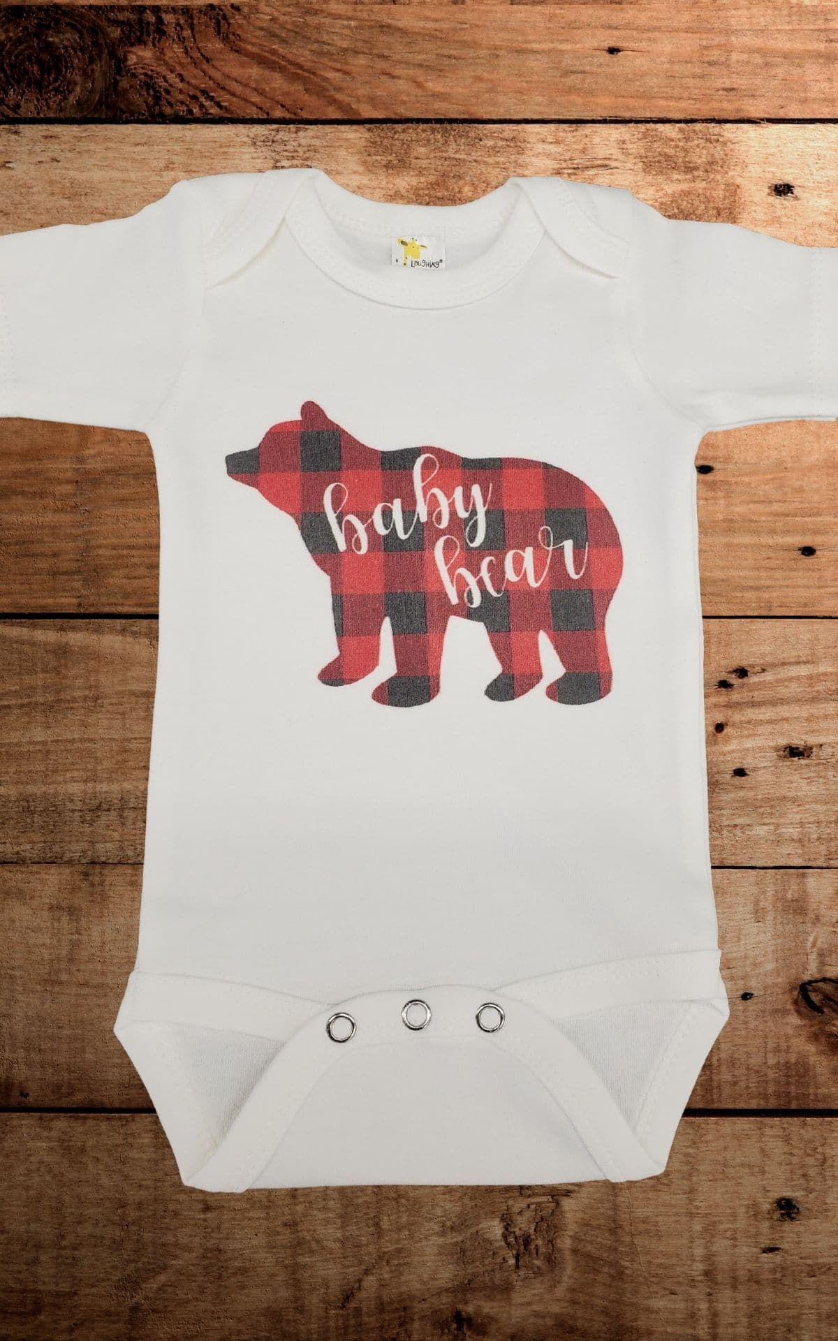 Baby Onsies - Baby Bear in red black check