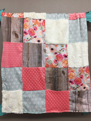 Custom Girl Crib Bedding - Floral, barnwood, mint arrow, Rustic Nursery Set