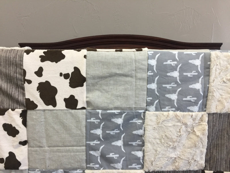 Custom Boy Crib Bedding - Steer, Wood, Brown Pony Minky, and Brushed Tan, Steer Crib Bedding