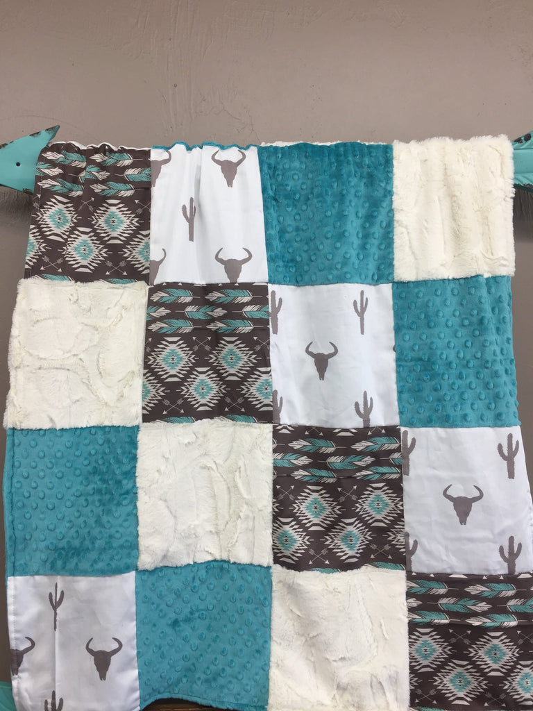 Boy Crib Bedding - Longhorn Cactus and Aztec Crib Bedding