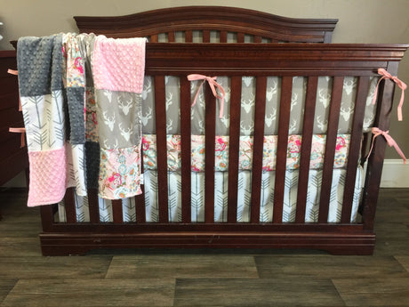 Ready to Ship Girl Crib Bedding - Blush Flowers, White Gray Arrow, Gray Buck