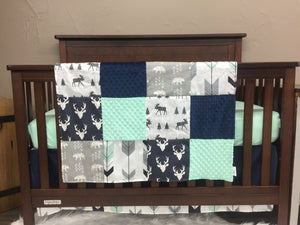 Custom Boy Crib Bedding- Navy Buck, Moose, Arrow Bear, Fletching Arrow, Mint, and Navy,Woodland Crib Bedding