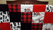 On the Farm Patchwork Blanket- Tractors, Cow, Red Black Buffalo Check, Black Minky and Red Minky Baby Blanket