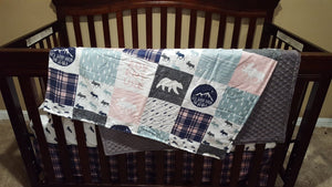 Girl Baby Blanket or Quilted Comforter - Adventure Moose Baby, Toddler, Twin, Full, Queen