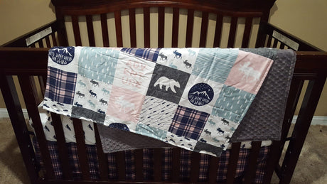 Adventure Moose Girl Baby Blanket or Quilted Comforter - Baby, Toddler, Twin, Full, Queen