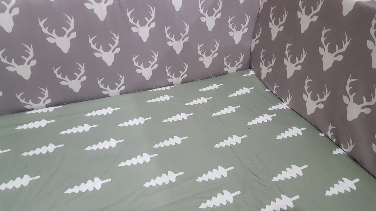 Custom Boy Crib Bedding- Bear, Buck, Trees, Red Black Buffalo Check, Fawn Minky, and Brown