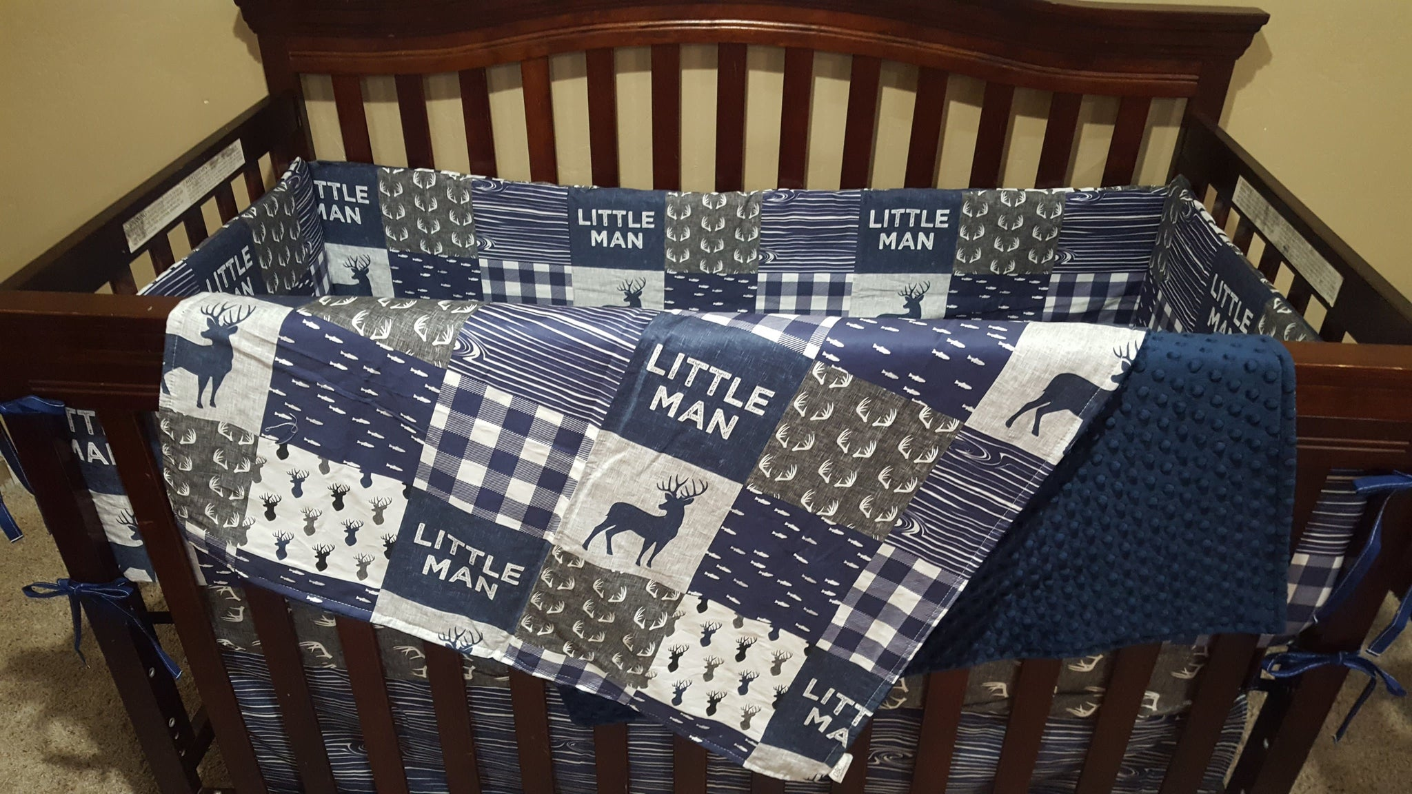 Custom Boy Crib Bedding Little Man Deer Gray Antlers