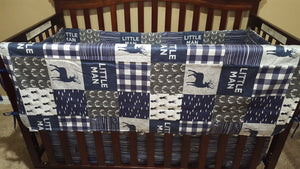 Custom Boy Crib Bedding - Little Man Deer, Gray Antlers, Navy Wood Grain, Little Man Crib Bedding