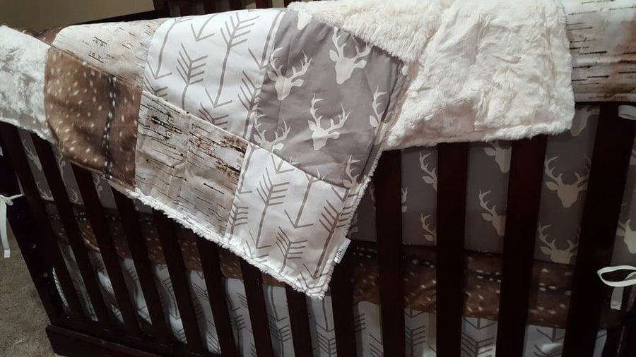 Blanket- Gray Buck, Birch Tree, Deer skin Minky, White Tan Arrow, and Ivory Crushed minky Patchwork Blanket