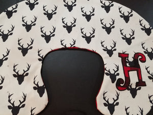 Nursing Pillow Cover - Buck Black and Minky Boppy Cover - Deer, Stag, Woodland