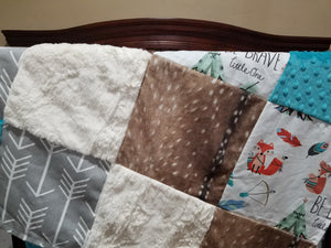 Blanket - Be Brave Fox, Deer Skin Minky, Gray Arrows, Ivory Crushed Minky,  and Teal minky Patchwork Blanket