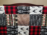 Blanket - Buck, Aztec Bear, Brave Arrow, Deer Skin Minky, and Red Black Buffalo Check Patchwork Blanket