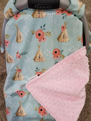 Carseat Tent - Teepee with roses