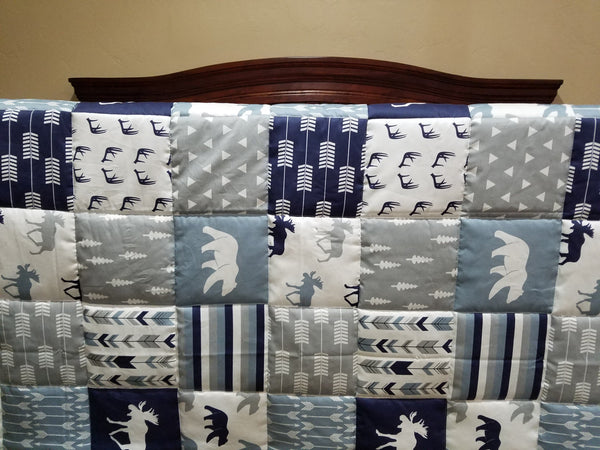 Patchwork Baby Blanket or Quilted Comforter- Pine tree, Moose, Lodge, Stripe, Bear, Navy, Gray