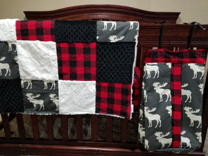 Diaper Stacker - Moose and Red black buffalo check
