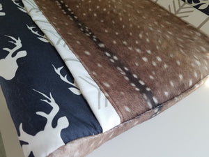 Deluxe Changing Pad Cover- Navy Buck  and Deer Skin Minky with white tan arrow trim
