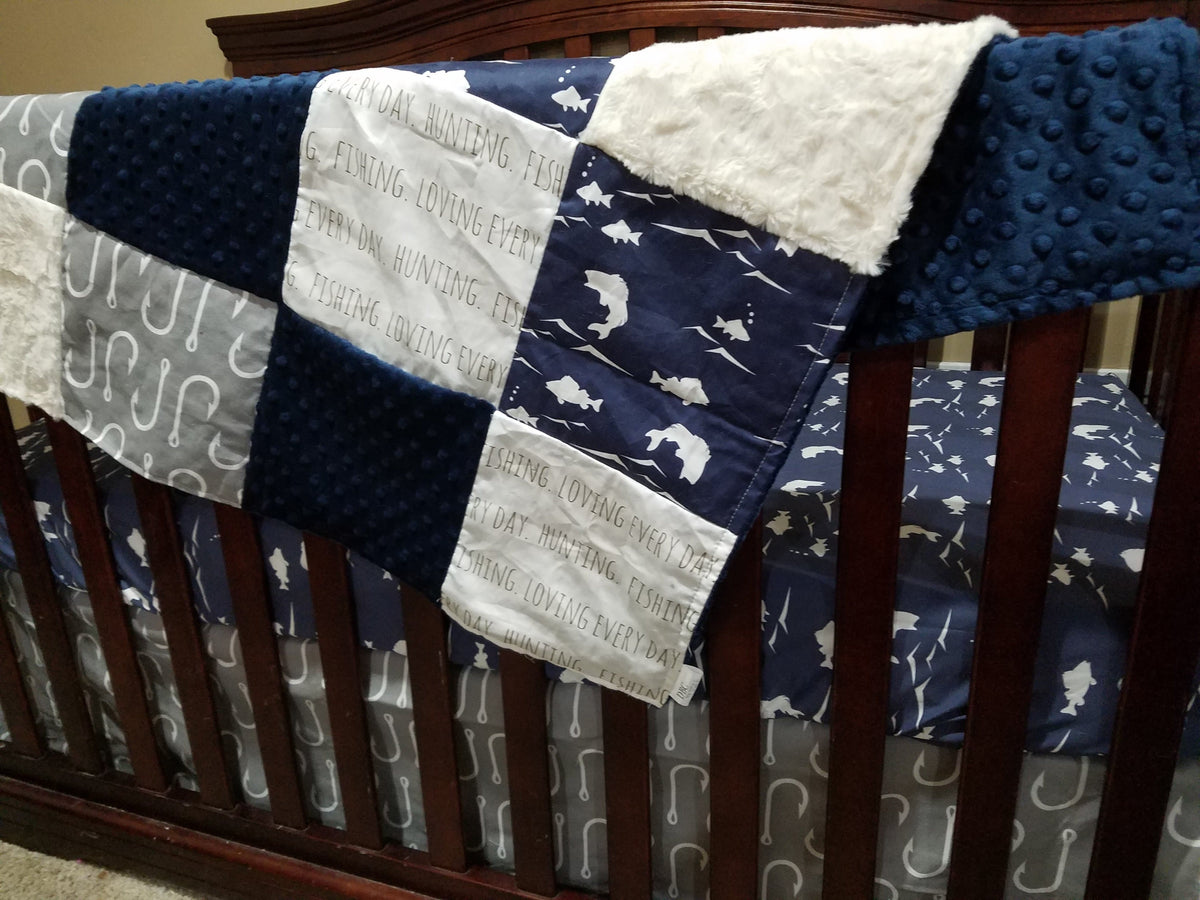 Custom Boy Crib Bedding- Navy Bass, Gray Fish Hooks, Navy Minky, and Ivory, Fishing Collection