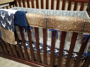Custom Boy Crib Bedding- Navy Buck, Deer Skin, Gray Arrow, Deer Nursery Set