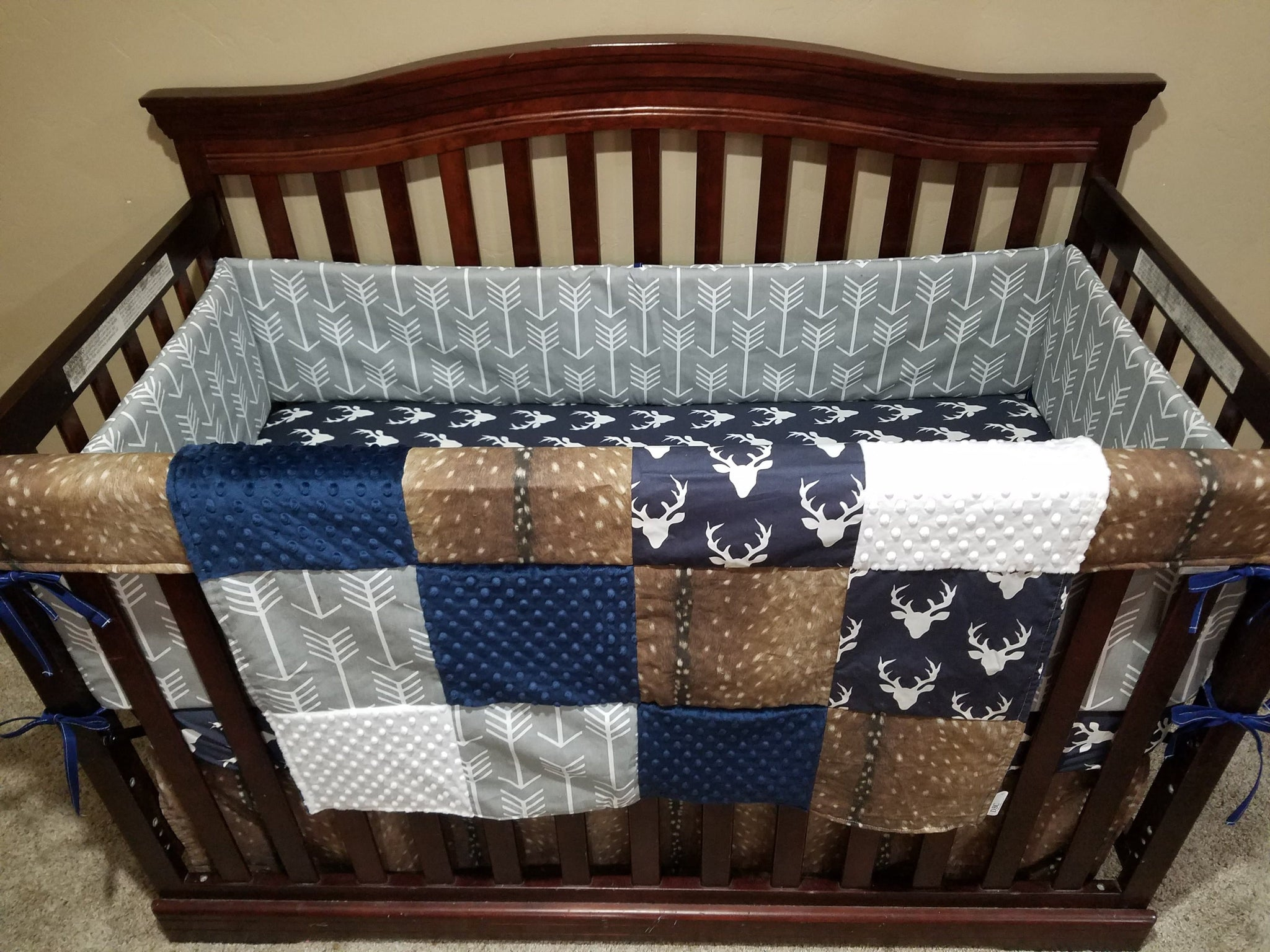 2 Day Ship Baby Boy Crib Bedding Navy Buck Deer Skin