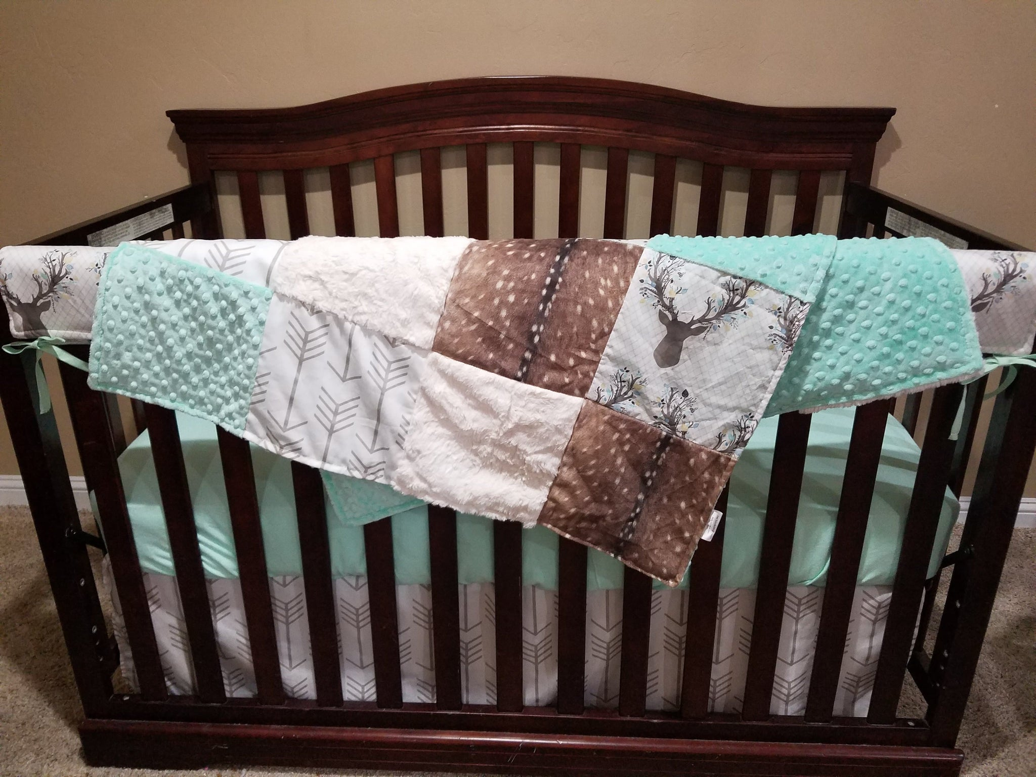 Ready To Ship Boy Crib Bedding Buck Buffalo Check