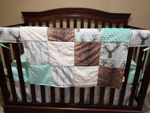 Ready to Ship Neutral Crib Bedding- Stag, Deer Skin Minky,  White Tan Arrow, Mint, Deer Crib Bedding