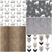 Boy Crib Bedding- Little Man, deer, fletching arrow, deer skin, and gray minky hide