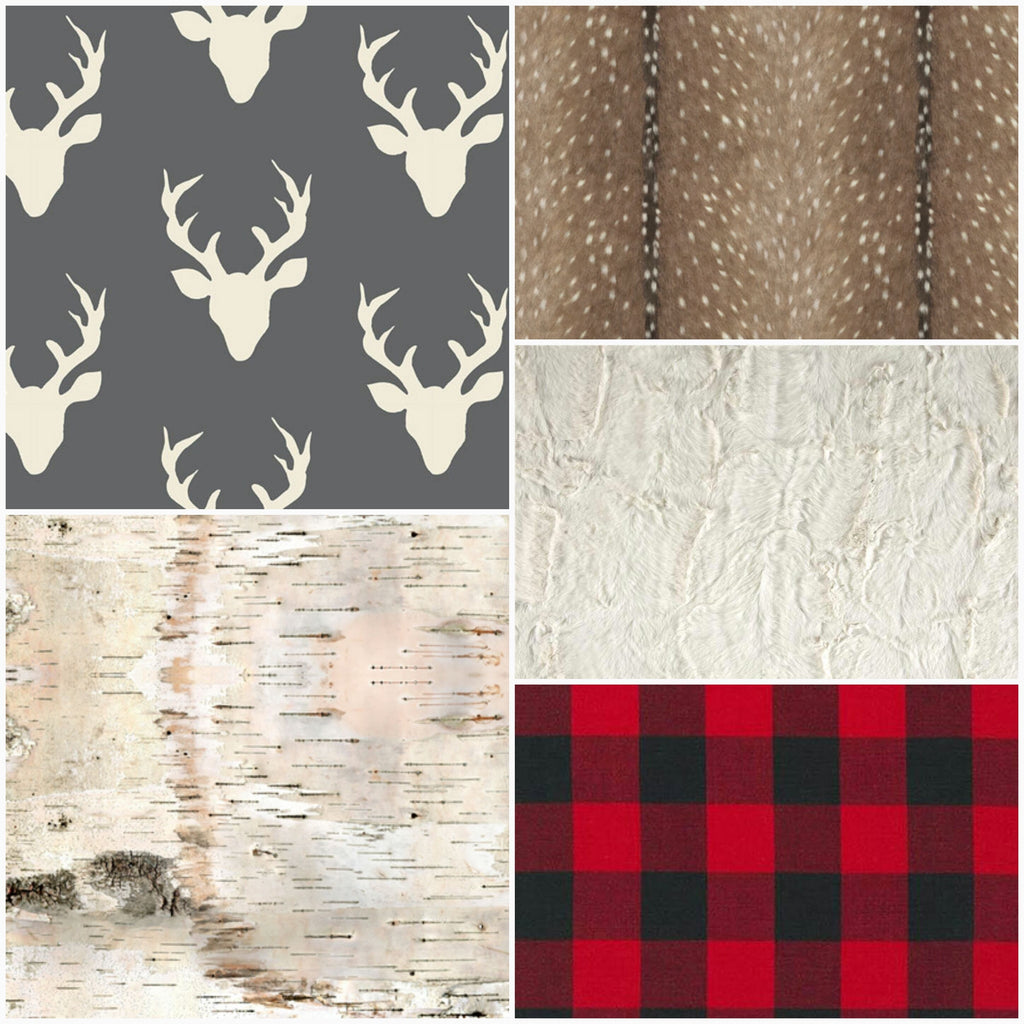 Boy Crib Bedding- Charcoal Buck, Birch, Deer Skin Minky, Red Black Buffalo Check, and Ivory Crushed Minky- Woodland Crib Bedding