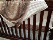Neutral Crib Bedding- Deer Skin, White Tan Arrow,  Ivory Crushed Minky Nursery