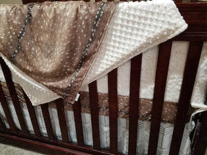 Custom Neutral Crib Bedding- Deer Skin, White Tan Arrow,  Ivory Crushed Minky, Deer Crib Bedding