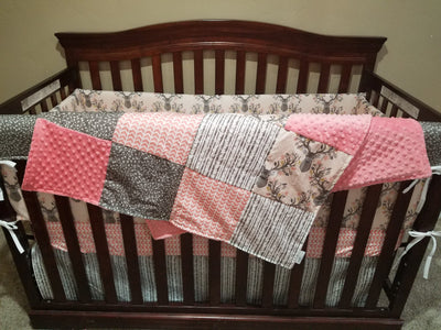 Girl Crib Bedding - Forest Stag, Broken Chevron, Random Arrows, Birch Trees, and Blush
