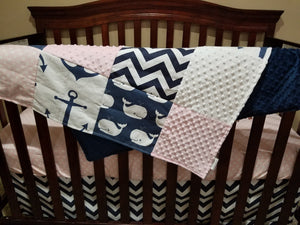 Ready to Ship Girl Crib Bedding- Anchors, Whales, Navy Chevron, Light pink Dots, Blush Minky, and White Minky, Nautical Crib Bedding