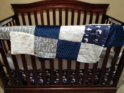 Custom Boy Crib Bedding- Navy Bass, Gray Hooks, Ivory, Gray, and Navy, Fishing Collection